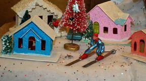 Christmas Tree Village with ski figurine old fashioned Stock Photo