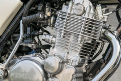 Closeup of chromed motorcycle engine. Detail of a classic motorcycle engine Stock Image