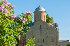 Closeup of the church of Peter and Paul at Slavna in Veliky Novgorod, Russia. Selective focus at the church. Old medieval Orthodox church of Peter and Paul at Stock Image