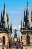 A closeup on Church of Virgin Maria Before Tyn in Prague Stock Photos