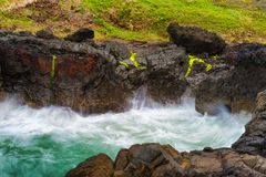 Closeup of churning waves at Devils Churn royalty free stock images
