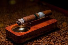 Closeup a cigarette in the ashtray Royalty Free Stock Image