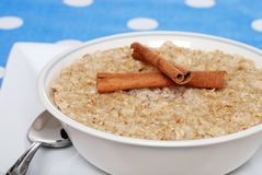 Closeup cinnamon oatmeal Stock Photo