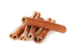Closeup of cinnamon sticks on white Royalty Free Stock Images