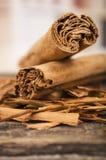 Closeup cinnamon sticks Stock Photography