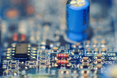 Closeup of circuit board. With many elements stock photos