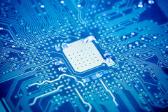 Closeup of the circuit board with blue tone Royalty Free Stock Images