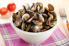 Clams salad with tomato sauce Royalty Free Stock Images