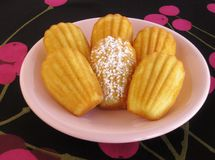 Closeup of classic French madeleines in pink vintage plate on modern black and magenta cherry-pattern tablecloth Royalty Free Stock Photos