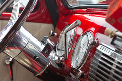 Closeup of a Classic Vehicle`s Steering Wheel Royalty Free Stock Image