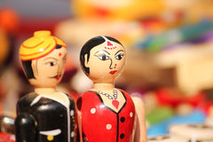 Closeup of clay dolls in indian attire, selective focus Royalty Free Stock Photos