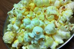 Closeup click of Popcorn. A closeup click of popcorns in a place royalty free stock photography