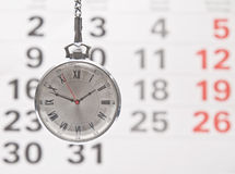 Closeup clock and calendar Stock Image