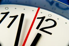Closeup clock hands about to hit midnight or noon  Stock Images
