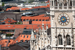 Closeup on the clock of New Town Hall in Munich Royalty Free Stock Images