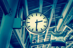 Closeup Clock at the sky-train station Royalty Free Stock Image