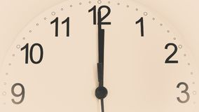 Closeup clock ticking showing twelve hours stock photo