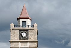 Closeup of clock tower in niagara falls royalty free stock photo