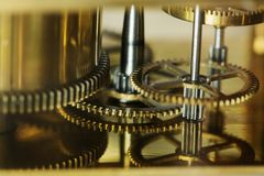 Closeup of clockwork gears system Stock Photography