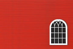 Closeup Closed plastic window with red wall Royalty Free Stock Photography