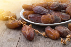 Closeup of the cluster of dates plam. Fruit of tropical Stock Photos