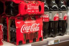 Closeup of coca-cola bottle in supermarket. Mulhouse - France - 15 January 2018 - closeup of coca-cola bottle in supermarket royalty free stock photos