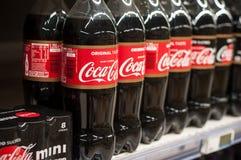 Closeup of coca-cola bottle in supermarket. Mulhouse - France - 15 January 2018 -closeup of coca-cola bottle in supermarket stock photography