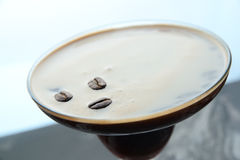 Closeup cocktail with cacao beans. Closeup coffee cocktail with cacao beans Royalty Free Stock Photos