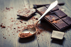 Closeup of Cocoa Powder on spoon stock image