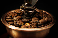 Closeup coffee bean and coffee grinder Stock Photo