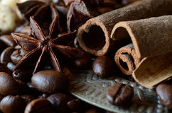 Closeup of coffee beans,anise , cinnamon sticks,food background Royalty Free Stock Photo