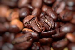 Closeup of coffee beans background Royalty Free Stock Photos