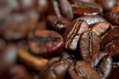 Closeup of coffee beans background Royalty Free Stock Photography