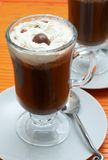 Closeup of coffee with cream. (Caffe Borgia) in tall glasses Stock Photography