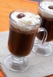 Closeup of coffee with cream. Closeup of two cups of coffee with cream (Caffe Borgia Stock Photos
