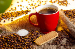 Closeup of coffee cup, biscuit and sugar spoon Stock Image