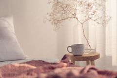 Closeup of coffee cup and flower in glass vase on the bedside table of bright bedroom interior. Real photo with copy space on the empty wall royalty free stock photos