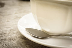Closeup coffee cup with spoon Royalty Free Stock Photography