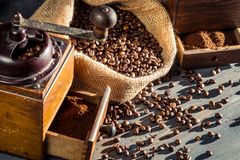Closeup of a coffee grinder Royalty Free Stock Images
