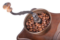 Closeup of coffee grinder with coffee Royalty Free Stock Photography