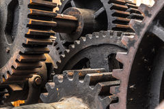 Closeup of cogs, gears, machinery Stock Images
