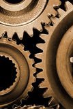 Closeup of cogwheels. On black Stock Image
