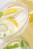 Closeup of cold lemonade glass Royalty Free Stock Images