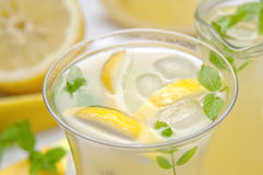 Closeup of cold lemonade glass Royalty Free Stock Photo