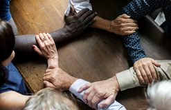Closeup of collaboration hands teamwork stock image
