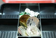 Collection of cryptocurrency in a lockbox stock images