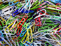 Closeup of Coloful Paper Clips Royalty Free Stock Photography