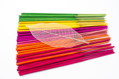 Closeup coloorful aroma incense sticks Royalty Free Stock Photos