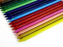 Closeup Color pencils layout diagonal Royalty Free Stock Photos