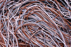 Closeup colored cables and wires Royalty Free Stock Images